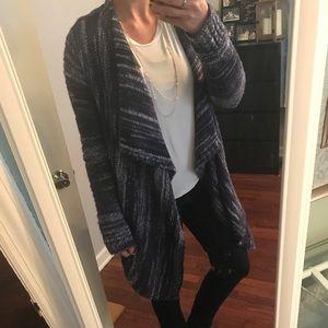 Blue & White Long Textured Cardigan